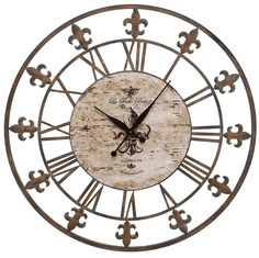 "Aspire Home Accents 13813 36"" Wrought Iron Wall Clock Antique Brown Home Decor Clocks Wall Clocks"