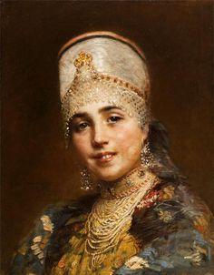 """ of Konstantin Makovsky art Russian beauty "" Russian Beauty, Russian Fashion, Russian Folk, Russian Art, Russian Style, Russian Traditional Dress, Folk Costume, Costumes, Salon Art"