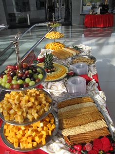 Holiday cheese display with fruit and crackers