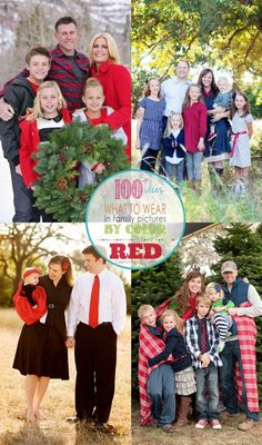 Family Picture Outfits by Color Series with over 100 ideas on how to gather clothes for family photography session, this one is all about RED! - Capturing-Joy.com