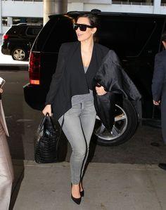 Kim Kardashian - Black Cardigan, Grey Top & Grey Skinny Jeans