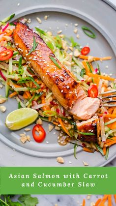 Asian Salmon with Carrot Cucumber Slaw- This Asian salmon is marinated in the aromatic mixture of soy sauce, lemongrass, ginger, garlic and lime with a touch of chilli, then quickly oven baked. Asian Salmon with Carrot Cucumber Slaw Julia Frey Baked Salmon Recipes, Slaw Recipes, Healthy Recipes, Sauce Recipes, Vegetarian Recipes, Asian Seafood Recipe, Seafood Recipes, Dinner Recipes, Asian Fish Recipes