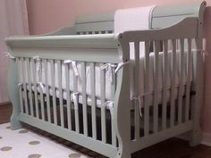 Crib makeover with paint! Thinking about doing this to get all my odds and ends nursery furniture to all go together!