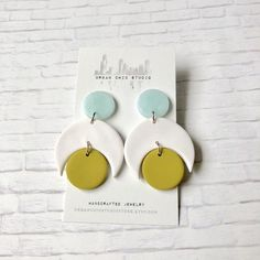 White blue and lime green polymer clay earrings, modern geometric earrings, minimalist earrings, dan Polymer Beads, Polymer Clay Charms, Handmade Polymer Clay, Polymer Clay Jewelry, Diy Clay Earrings, Dangle Earrings, Terracotta Jewellery, Metal Clay Jewelry, Biscuit