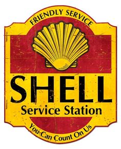Friendly Service Shell Service Station Grunge Metal Sign 24 x 30 Inches