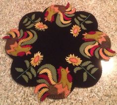 Primitive Wool Penny Rug Jar Candle Mat Dresden by MaggysPennies