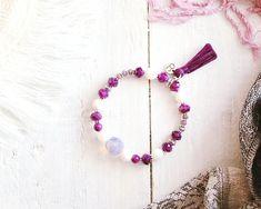 Bracelet Aladin, fil élastique, perles argent, violet, mauve et blanc, pompon, mille et une nuits, pour femme