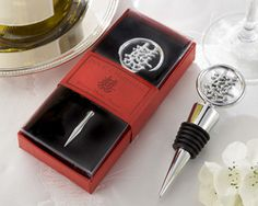 Double Happiness Chrome Bottle Stopper  in Asian-Themed Gift Box