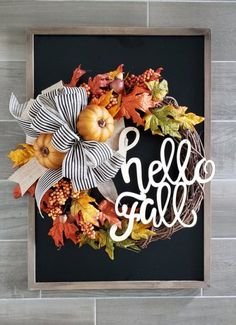 14 Incredibly Handcrafted Fall Wreaths You Can Buy From Etsy This beautiful handcrafted Hello Fall wreath will be the perfect entrance wreath for your front door! Be sure to swing into the lovely Etsy shop to buy your fall wreath before they are all gone! Diy Fall Wreath, Holiday Wreaths, Wreath Ideas, Autumn Wreaths For Front Door, Winter Wreaths, Halloween Wreaths, Spring Wreaths, Summer Wreath, Fall Door Decorations For Home