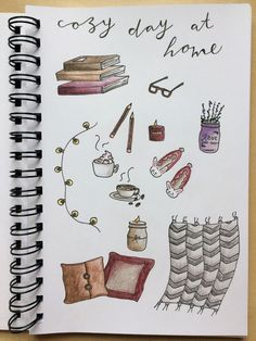 Motivation to get through this last crazy, exhausting week: spending cozy, relaxing time at home when I'm done! Bullet Journal Notebook, Bullet Journal Ideas Pages, Bullet Journal Spread, Bullet Journal Inspiration, Book Journal, Pencil Art Drawings, Doodle Drawings, Bullet Journal Aesthetic, Doodle Art Journals