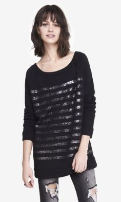 FOIL STRIPED TUNIC SWEATSHIRT from EXPRESS