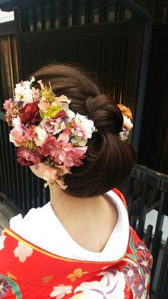 Graduation Hairstyles, Wedding Hairstyles, Up Styles, Hair Styles, Japanese Wedding, Hair Arrange, Flower Headpiece, Japanese Kimono, Flowers In Hair
