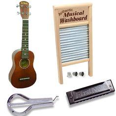Amazon.com: Old Time Music Pack - Harmonica, Jaw Harp, Ukulele & Washboard Set: Musical Instruments