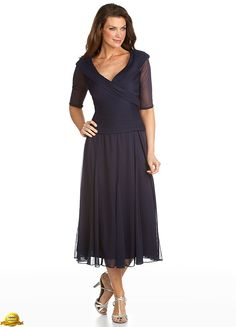 Alex Evenings 132141 Mesh Portrait Tea Length Dress - Mother of the Wedding