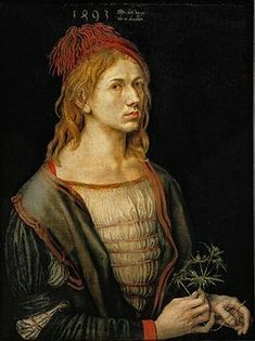 Autoritratto con fiore d'Eringio. 1493. Olio su pergamena riportato su tela. 57x45 cm. Louvre. Dipinto a Basilea a 22 anno. Spesso viene messo in connessione con il fidanzamento con Agnes Frey. Primo autoritratto dipinto della storia della pittura occidentale.