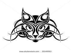 tribal katzen vektor katze gesicht mit tribals gemacht. Black Bedroom Furniture Sets. Home Design Ideas
