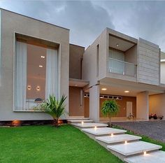 Modern Architecture - love the huge window and full length curtains! Dream Home Design, Modern House Design, Beton Design, Dream House Exterior, Villa Design, House Entrance, Facade House, House Goals, House Front
