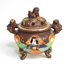 #Antique #Japanese #Satsuma #Moriage #Incense Pot  #Moriyama #Oriental #Asian #Art #Porcelain by OneRustyNail on #Etsy