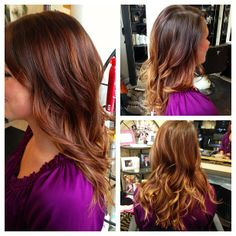 auburn hair with balayage honey highlights on ends