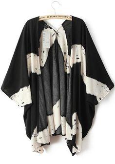 Black Tie Dye Long Sleeve Kimono