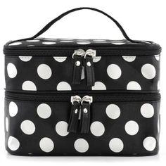 รีบเป็นเจ้าของ  Better Double Layer Travel Cosmetic Makeup Bag Dot Pattern ToiletryBag Organizer With Mirror (Black/White)  ราคาเพียง  88 บาท  เท่านั้น คุณสมบัติ มีดังนี้ Made of good material Good design Good Product