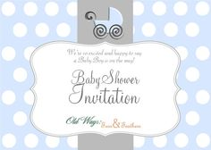 Polka Dot Baby Boy Shower Invitation Blue by OldWaysFussNFeathers, $12.00