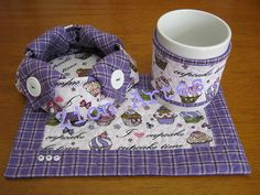mug rug com cestinha