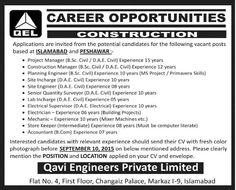 Latest Jobs in Qavi Engineers Private Limited for Project Manager, Construction Manager