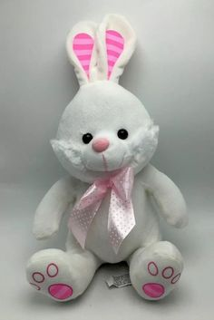 Bunny Rabbit Plush Large Soft White 15 inch Stuffed Animal Toy New #Unbranded