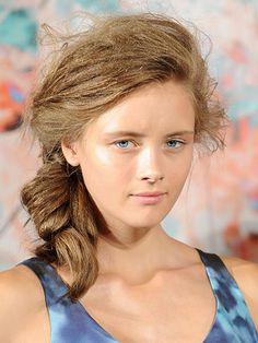 Best Beauty Looks from NYFW Spring 2013: Dewy skin and messy, knotted side ponytails—Paris-based designer Calla Haynes must have taken plenty of inspiration from the unfussy, naturally gorgeous French girls she sees every day!