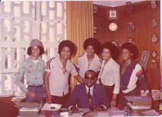 Vintage pic of T&T Late P.M. Dr Eric Williams with The Jackson 5 during their historic visit in 1978