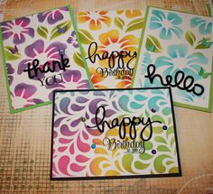 Making multiple cards using Distress Ink and stencils