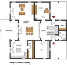Grundriss Erdgeschoss: Honka Blockhaus – Haus Henkel