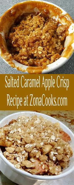 Salted Caramel Apple Crisp is like Fall in a dish! Tart apples are coated in sugar, spices, and salted caramel then topped with a crumbly crispy oatmeal topping. This small batch recipe serves 2. #AppleCrisp #DessertForTwo #apple #caramel #SaltedCaramel #dessert #RecipesForTwo Oatmeal Toppings, Caramel Apple Crisp, Breakfast Recipes, Dessert Recipes, Dessert For Two, Apple Crisp Recipes, Meals For Two, Sugar And Spice, Christmas Baking