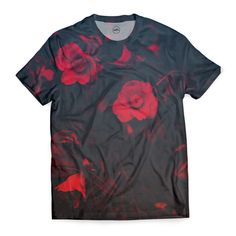 - T-Shirts start from - Full-sublimation Cut & Sew printed T-Shirt - Polyester with super soft Cotton feel, machine washable - day UK delivery time - Premium quality finish, hand sewn, no white marks under arms! Unique Fashion, Fashion Art, Geometric Wallpaper Murals, Flower Line Drawings, Red Flowers, Unique Art, Men Casual, Hand Sewn, Fabric