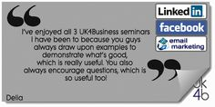 Lots of great feedback from someone who has been on many of our training seminars and enjoyed every one of them! Social Media Training, Email Marketing, Encouragement, This Or That Questions