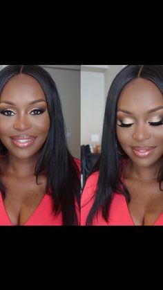Gorgeous bridal makeup on dark skin