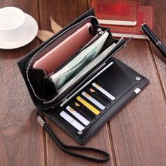 Color : Red, Size : S GROSSARTIG Camouflage Leather Card Holder Fashion Design Multi-Function Double Zipper Credit Card Holder RFID Anti-Theft Card Package ID Package