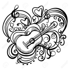 Music abstract icon with the guitar, hearts, musical note, treble clef Black lines Hand drawing illustration Doodle Cartoon Vintage style White background - vector Doodle Cartoon, Cartoon Drawings, Art Drawings, Doodle Art Letters, Doodle Art Journals, Sketch Icon, Art Sketches, Music Backgrounds, Abstract Backgrounds