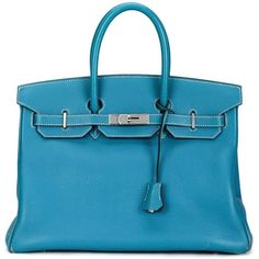 Hermès Vintage 'Birkin' tote (69.015.855 COP) ❤ liked on Polyvore featuring bags, handbags, tote bags, blue, blue leather tote, hermes handbags, leather purse, vintage purse and genuine leather tote