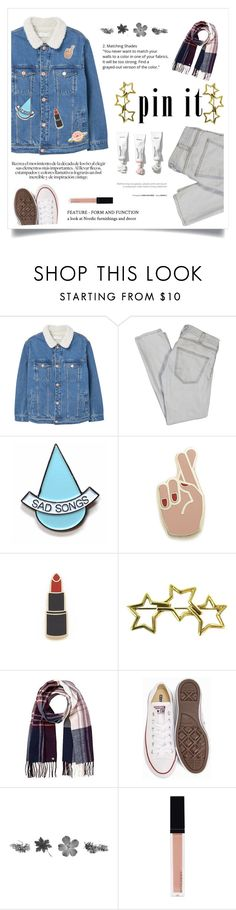 """""""Gray and Light Pink"""" by pear-drop ❤ liked on Polyvore featuring MANGO, Current/Elliott, Stay Home Club, Georgia Perry, Tiffany & Co., Lipsy, Converse and Witchery"""