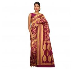 Zari work tusser silk saree in Wine color