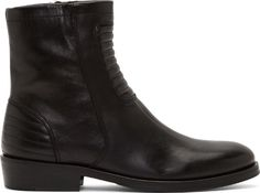 Surface to Air Black Ribbed Leather Allan Boots