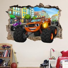 BLAZE AND THE MONSTER MACHINES MSMASHED WALL STICKER - BEDROOM ART KIDS MURAL