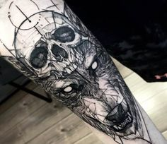 Skull and Wolf tattoo by Fredao Oliveira
