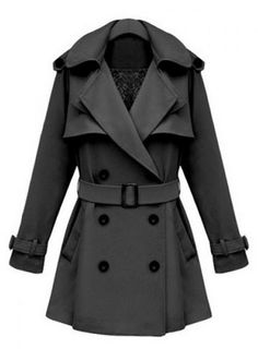 Love Love LOVE! Love the Lace Lining Detail! Would be great with a Plaid Scarf! Classic Grey Long Sleeve Women's Trench Coat #Classic #Grey #Black #Button #Trench #Coat #Fall #Winter #Fashion