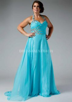Halter Top Sequins Blue Chiffon Plus Size Evening Dress / Prom Dresses 81609  http://www.dresses4australia.com.au/halter-top-sequins-blue-chiffon-plus-size-evening-dress-prom-dresses-81609-p-3659.html