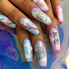 Cute Toe Nails, Aycrlic Nails, Dope Nails, Cute Nail Art, Swag Nails, Hair And Nails, Nagel Tattoo, Anime Nails, Hello Kitty Nails