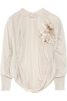 Lanvin|Flower-embellished cashmere shrug
