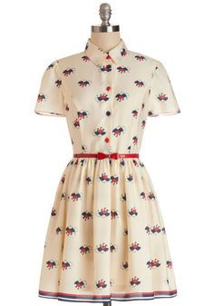 April Showers Dress by Nishe - Cream, Red, Novelty Print, Buttons, Belted, Casual, Vintage Inspired, Quirky, A-line, Shirt Dress, Short Slee...